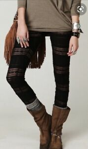 Free People Black Mesh Tiered Lace Victorian Ruffled RARE Legging L NWOT