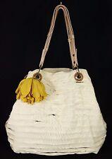 LANVIN Off-White Grosgrain Ribbon & Pink Snakeskin Flower Tote Bag