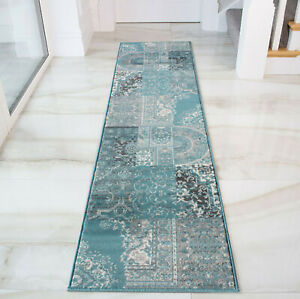 Long Blue Grey Runners Traditional Small Large Rugs New Patchwork Carpet Runner