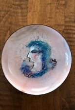 "Doris Hall 5"" Enamel Art Dish with Woman's Profile. Pink and teals"