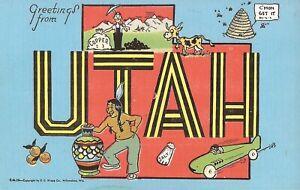 LARGE LETTER - UTAH - bee hive, salt, mining - pottery - box car