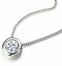 Stainless Steel 6.5mm Cubic Zirconia Round Solitaire Bezel Set Pendant Necklace