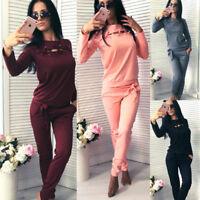 Womens 2Pcs Set Tracksuit Loungewear Casual Sweatshirt Sport Jogging Top Pants