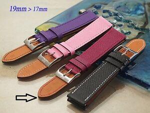 Genuine leather band bracelet strap 19mm lug 17mm buckle (fits) Hermes H Hour