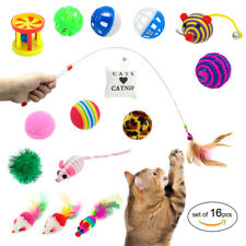 Cat Toy Set Assorted 16pcs Interactive Kitten Play Fun Mouse Balls Bell Catnip
