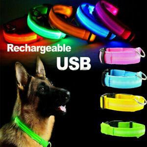 Pet Dog Nylon Collars Charming Solid Adjustable Collar + LED Glow Dogs Leash