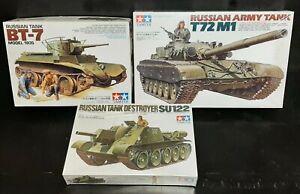 Tamiya BT-7 + T72M1 + SU122 1:35 Russian Tank Model Kits