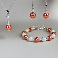 Coral orange pearl necklace bracelet earring silver wedding bridal jewellery set
