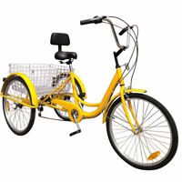 """7-Speed 24"""" Adult 3-Wheel Tricycle Cruise Bike Bicycle With Basket Yellow F11"""