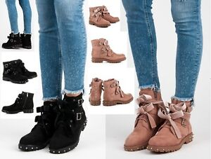 WOMENS-LADIES SUEDE LACE UP, ZIP, BOW FLAT ANKLE BOOTS ROCK STYLE NEW*UK STOC
