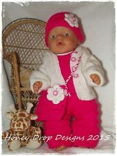 Honeydropdesigns  * PAPER KNITTING PATTERN #2 * For Baby Born/17 Inch Dolls