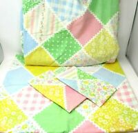 Vintage Perma Prest Double Sheet Set Sears Country Patchwork