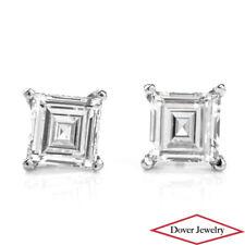Estate Natural 1.70ct Square Asscher cut Diamond Platinum Stud Earrings NR