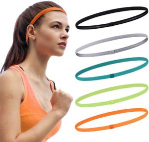5 pcs Running Headband Sweat  Band for Women and Men Non-Slip Elastic Sports