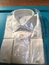 Pronto Uomo Mens 16.5 34-35 Non-Iron 80's 2-ply Ivory White L/S Button Shirt
