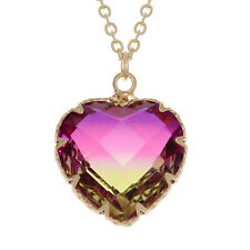 Gold Pink/Yellow Two Tone Heart Pendant with Chain - Gift Boxed