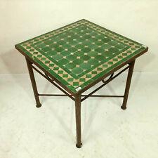 Mosaic Table Morocco Side Green Tea Flower Vintage Antique Furniture