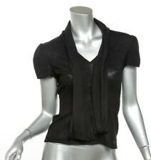 CHANEL Black Cashmere/ Silk Knit Peplum Hem Short Sleeve Top W/ Neck Tie 8/ 40
