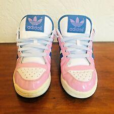 Adidas Womens 2008 Baby Pink Blue Patent Trainers UK 8 RARE Retro Style Unisex