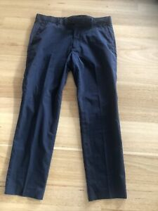 Uniqlo 35x34 Polyester Trousers Long Pants Navy As New Slim Fit.