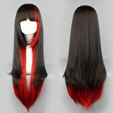 68cm Damen Schwarz Rot Lang Glatt Wig Volle Haarersatz Cosplay Perücke Kostüm
