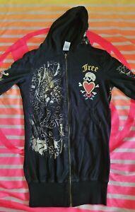 Womens Don Ed Hardy Christian Audigier  Hoodie Full Zip Jacket Free Love Black S