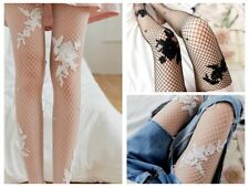 2 pairs Hot Fashion Wide Fishnet Embroidery flower Lolita Tights Pantyhose