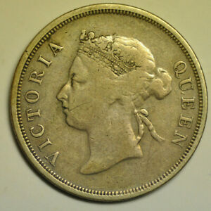 mw17358 Straits Settlements; Silver 50 Cents 1891 Victoria  KM#13