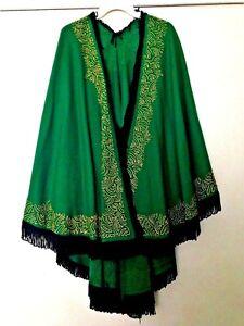 Ladies Golden Embroidered Green Wool Cape / Ruana - Black Fringe