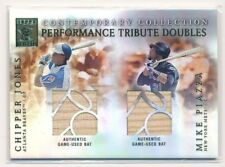 2003 Topps Tribute Contemporary Doubles CHIPPER JONES MIKE PIAZZA DUAL BAT HOF