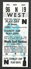 Maple Leaf Gardens 1968 Vintage Full Unused Playoff Ticket GEM MINT !!!!