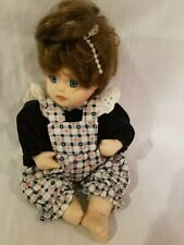 """All PORCELAIN DOLL Little GIRL Country Jumper handcrafted 7.5"""" Sitting Cute& Bow"""
