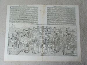 Schedel, Constantinople / Istanbul view, leaf from Nuremberg Chronicle, 1493