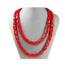 cylindrique perles rouge corail Collier  125 cm