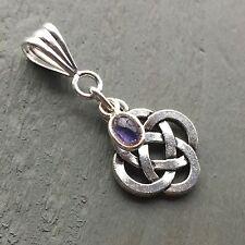 Iolite Charm & Tibetan Silver Celtic Knot 4 Elements Pendant Wicca Pagan Chakra