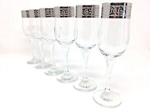Crystal Glass Set of 6 Champagne Flute  Wine Glasses 7oz  Silver Floral  Design