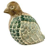 "Vintage Hand Carved & Painted Wood Dove Bird Original Folk Art Green Brown 8"""