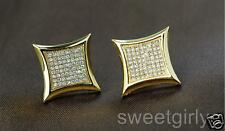 Men Women 24k Gold Filled Arc Square Stud Earrings With Crystals