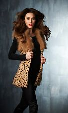 The Fashion Director Brand animal print fur vest one Size NEW fully lined