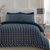 Highland Tartan 100% Brushed Cotton Flannelette Duvet Cover Bedding Set BLUE