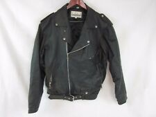 Alan Michaels 100% Genuine Leather Black Biker Jacket-Style 720-Size Small