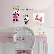 MINNIE MOUSE PEEL AND STICK WALL DECALS WITH GLITTER Girls Disney Room Stickers