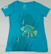 Guy Harvey Outpost Playa Resort Coral Peces Azul Pequeño Mujer Camiseta B371