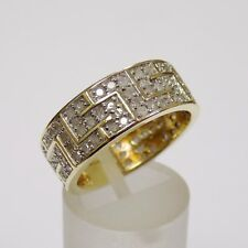 Solid 9ct Yellow Gold Greek Key Design Diamond ~1ct Ring Size Q 1/2 5.5g REDUCED