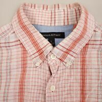 Banana Republic Mens Button Down Linen Shirt Short Sleeve Large Plaid Orange