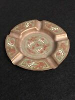 """Vintage Hand Painted Green / Red  on Brass Ash Tray,  Flowers, India 4-1/8"""""""
