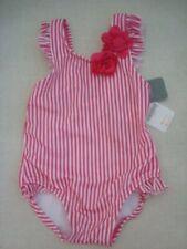 Nwt Gymboree Upf50+ Pink & White Stripe Swimsuit Girl size 6-12 months