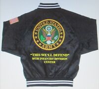 85TH INFANTRY DIVISION* CUSTER* ARMY EMBROIDERED 2-SIDED SATIN JACKET