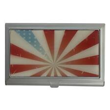 Grunge Vintage American Flag ID Case Business Card Holder Metal Wallet