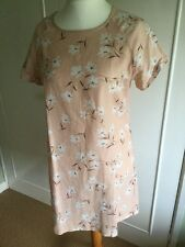 Cotton summer dress peach white floral UK Large L short sleeve scoop neck tunic